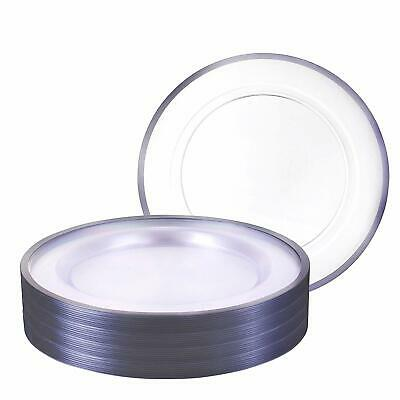 Premium Heavy weight 10.25 Clear Round Dinner Plastic Plates With Silver Rim 40P