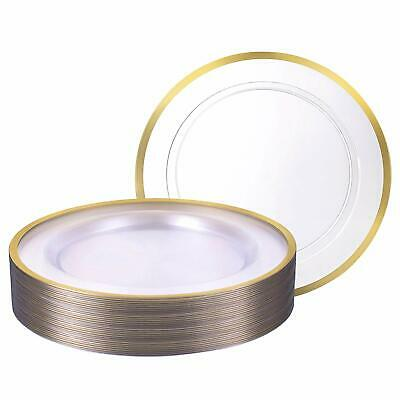 """Premium Heavy weight 10.25"""" Clear Round Dinner Plastic Plates With Gold Rim 40Pk"""