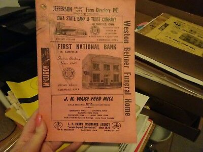 1963 Jefferson County Iowa Official Farm Plat Book And Farm Directory