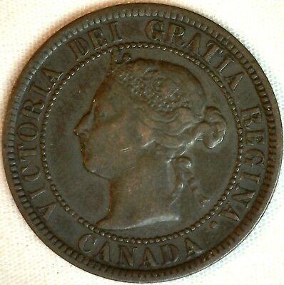 1884 Copper Canadian Large Cent One Cent Coin Very Fine #22