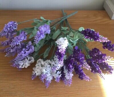 Artificial Fake Silk Flowers X 3 Bunches Mixed Lavender