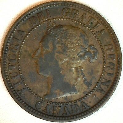 1882 H Copper Canadian Large Cent One Cent Coin Very Fine 30 #24