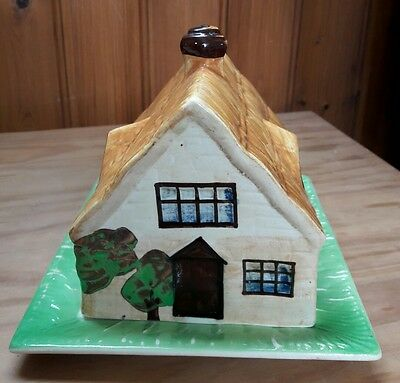 Antique Vintage Shabbychic  Pottery Thatched Cottage Ware Cheese Butter Dish