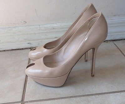 e5caf853470 SERGIO ROSSI BEIGE PATENT LEATHER PEEP TOE PLATFORM PUMPS Sz 38.5M MADE IN  ITALY