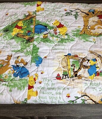 Vintage 1970's Sears Winnie the Pooh and Friends Quilt/Blanket 84 X 62