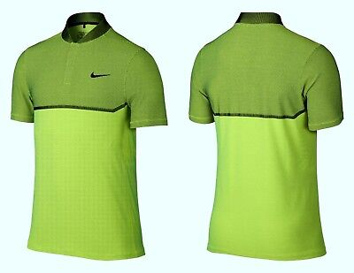 2ef85051 Nike Golf $100 MM Fly Swing Knit Block Alpha Polo 802840 Polo Shirt Lime  size MT