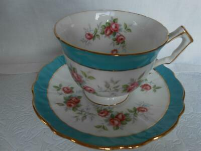 Vintage AYNSLEY Pink Roses with turquoise blue TEA CUP & SAUCER Bone China