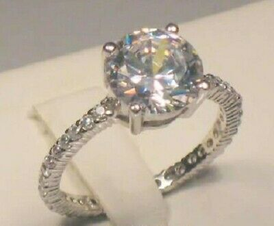 3.25 Ct Round cut Diamond Solitaire Eternity Band Engagement Ring White gold ov