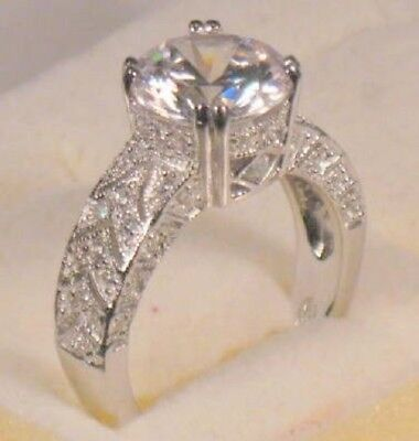 3.25 Ct Round cut Diamond Solitaire Engagement Ring White Gold Platinum Finish