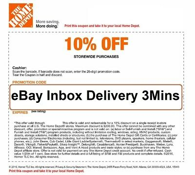 ONE 1X Home Depot 10% OFF Coupon - Instore ONLY Save up to $200-Quick-SEND-3mins