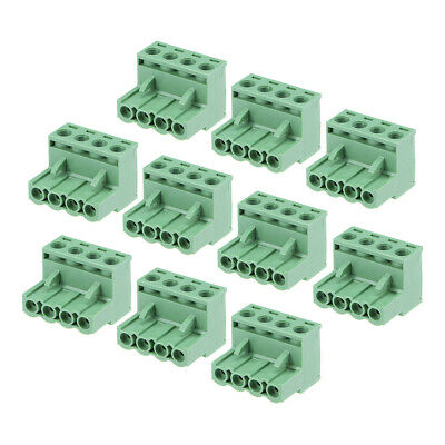 uxcell 15Pcs AC300V 8A 3.5mm Pitch 3P Flat Angle Needle Seat Plug-In PCB Terminal Block Connector green