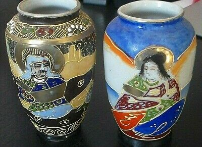Fine Old Pair of Vintage Japanese Satsuma Pottery Moriage Hand Painted Vases
