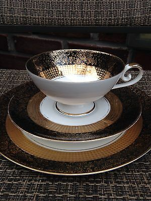 Vint Eberthal Bavaria Trio Cup, Saucer and Plate, 572 Black, Gold Trim W GERMANY