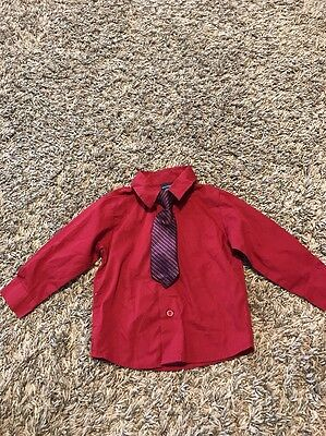 NAUTICA Long Sleeve Button Down Shirt With Tie, Size 24M