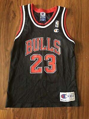 4898cce75 RARE VTG MICHAEL JORDAN YOUTH M 10-12 CHAMPION JERSEY CHICAGO BULLS 90s  BLACK