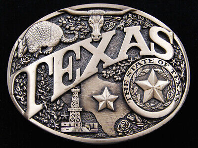 RD15140 *NOS* VINTAGE 1980s **TEXAS** STATE COMMEMORATIVE SOLID BRASS BUCKLE