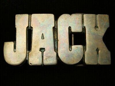 QJ15171 VINTAGE 1970s NAME **JACK** SOLID BRASS BARON BELT BUCKLE