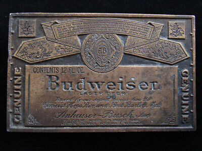 RE09113 VINTAGE 1970s **GENUINE BUDWEISER LAGER BEER** ADVERTISEMENT BELT BUCKLE