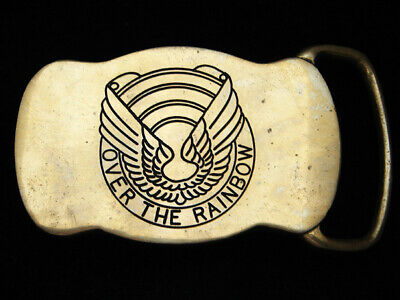 PH07130 VINTAGE 1970s **OVER THE RAINBOW** SOLID BRASS BELT BUCKLE