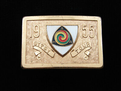 Rd13168 Great Vintage 1955 **Ama Gypsy Tour** Motorcycle Solid Brass Belt Buckle