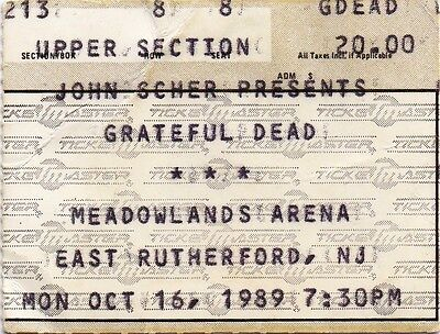 Grateful Dead Ticket Stub  10-16-1989  Meadowlands Arena