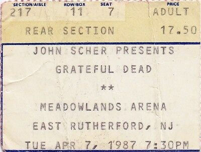 Grateful Dead Ticket Stub  04-07-1987  Meadowlands Arena