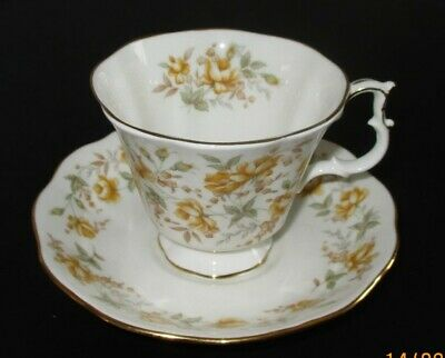 Royal Albert Bone China Tea Cup & Saucer - Rose Chintz Series - Orange Taffeta