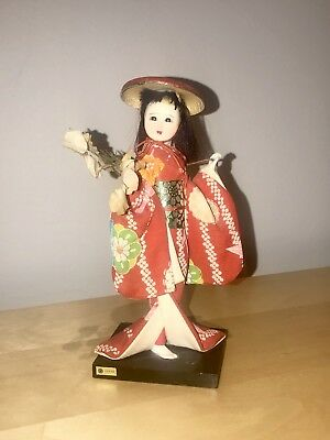 Vintage Japanese Geisha Doll Wearing Kimono On A Stand