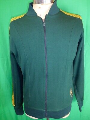 Vintage 1960s Green Gold MSD 'Olympic' Nylon & Cotton Zip-Up Training Jacket S