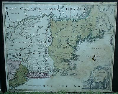 Rare Circa 1716 Homann Map of New England - New York - Nova Anglia Geographicus