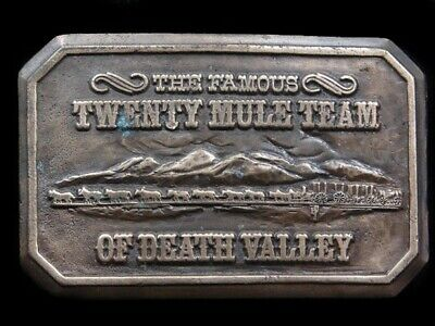 SA03124 VINTAGE 1970s **THE FAMOUS TWENTY MULE TEAM OF DEATH VALLEY** BUCKLE