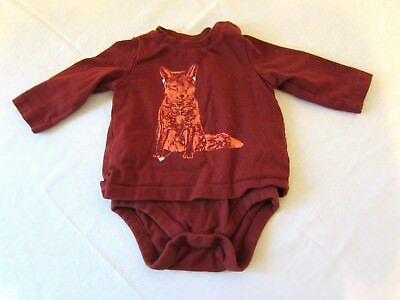 BABY GAP Boys Red Fox Long Sleeve One Piece Outfit Size 3-6 Double sided
