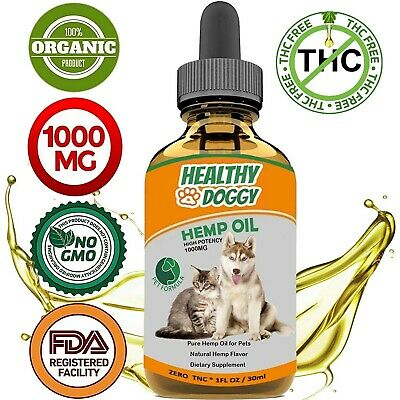 1000MG Organic Hemp Oil Dogs cats anxiety pain relief joint hip omega 3 6 9