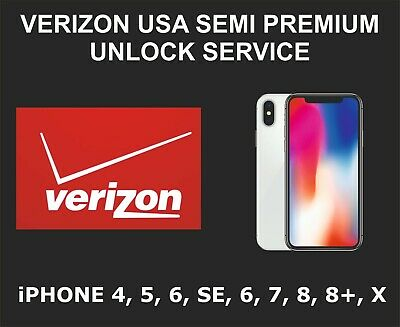 Verizon USA Semi Premium Unlock Service, fits iPhone 4, 5, 6, SE, 7, 7+, 8, 8+ X