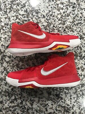 b51bfedbb336 New Nike Kid s Kyrie 3 GS Size 6.5 Y - Red Gray Basketball Shoes 859466 601