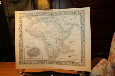 Antique Hand Colored Map of Africa 1860 by S. Augustus Mitchell Original ~12x15