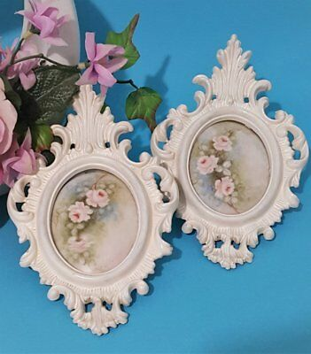 Shabby Chic 2 Fancy Oval PLASTIC WALL FRAMES with Hand Painted Inserts HONG KONG