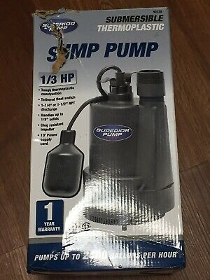 Superior Pump 92330 1/3 HP Thermoplastic Submersible Utility Pump