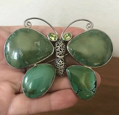 Vintage Sterling Silver Mexico Firefly Butterfly Brooch/Pin Green Agate Large