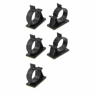 5 Pcs Self Adhesive Adjustable Wire Cable Tie Sticker Clip Black 28mm