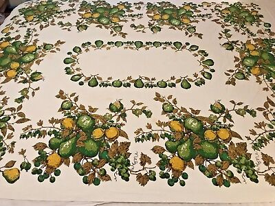 Vintage Luther Travis Table Cloth MCM Lovely Green Yellow Pears Grapes 52x64 CL7