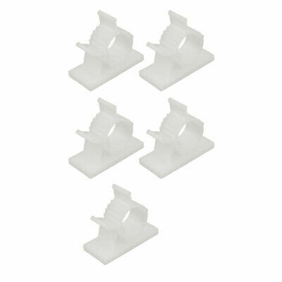 5 Pcs Self Adhesive Adjustable Wire Cable Tie Sticker Clip Off-White 15mm