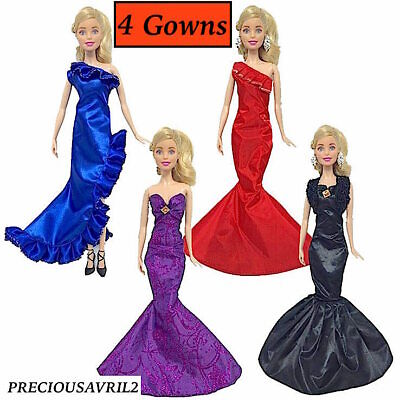 Brand new Barbie doll clothes outfit wedding set of 4 GLAMOUR evening dresses