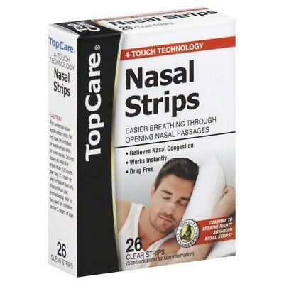 TopCare Nasal Strips Easier Breathing Through Opening Nasal Passage 26 Cear Stri