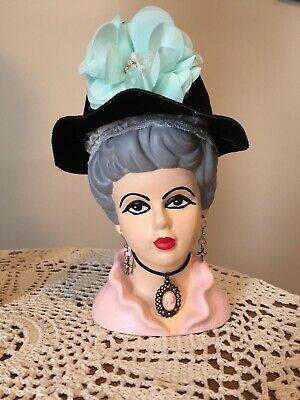 Vintage Lady Head Vase Relpo 4104 6 1/2'' Given New Life