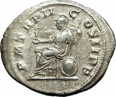 ELAGABALUS  219AD Rome Authentic Silver Ancient Roman Coin Roma w Victory i76745
