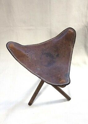 Awesome 1950S 60S Vintage Tooled Leather Camp Stool Folding Portable Gmtry Best Dining Table And Chair Ideas Images Gmtryco