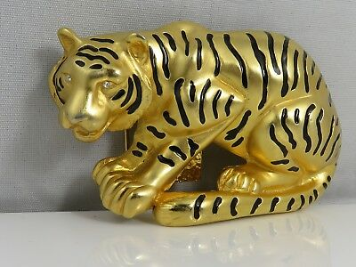 Vintage 1980'S Exotic Enamel Tiger Belt Buckle