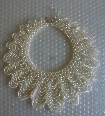 bEADED COLLAR NECKLACE FAUX PEARL SCALLOP LACE MULTISTRING JEWELRY OOAK neocurio