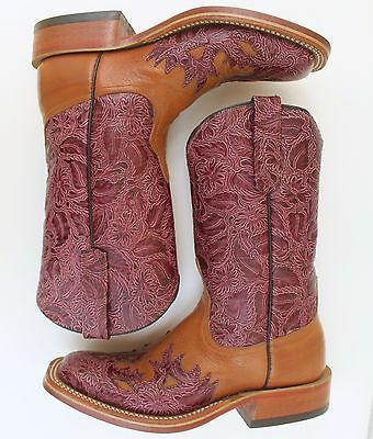 Anderson Bean Boot Women Co Tooled Cowboy Burgundy Saddle Tan Wingtip Square 6.5